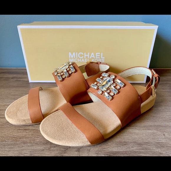 Michael Kors Shoes - Michael Kors Luna Flat Cognac Sandals Size 6